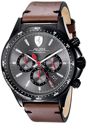 Scuderia Ferrari Men's 'PILOTA' Quartz Stainless Steel and Leather Casual Watch, Color:Brown (Model: 0830392)