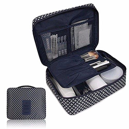 Cosmétique Sac de maquillage, organiseur Boîte de rangement, organiseur, Honestyi Pockettrip clair Cosmétique Maquillage Sac de toilette kit de voyage Organiseur–Tissu en nylon imperméable 220 x 180 x 9 mm bleu