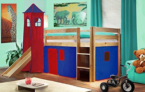 SixBros. Cama alta de niños cama de juego con torre y tobogán pino maciza natural/barnizado - Azul/Rojo V2 - SHB/24/1033