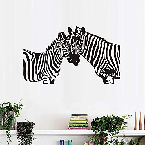 Wild-tier-silhouette (JXNY Zwei Zebras Silhouette wandaufkleber für kinderzimmer Wilde Tiere abnehmbare Vinyl DIY wandkunst Aufkleber Dekoration accessories98x58cm)