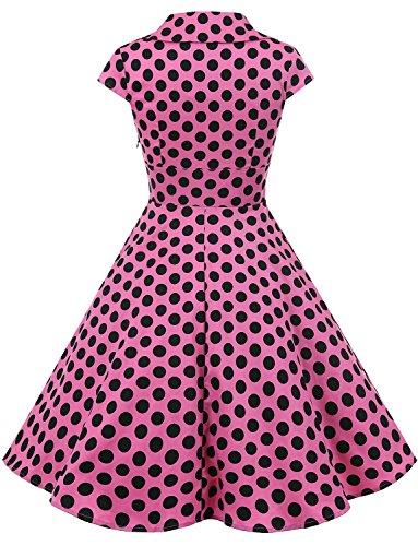 Gardenwed Damen Abendkleider Vintage Cocktailkleid 1950er Retro Sommer V-Ausschnitt Kleid Petticoat Faltenrock Pink Black Dot