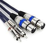 Tisino HiFi Stereo Audio Kabel, Dual/2 XLR weiblich auf Dual/2 Cinch Stecker - 1,5m