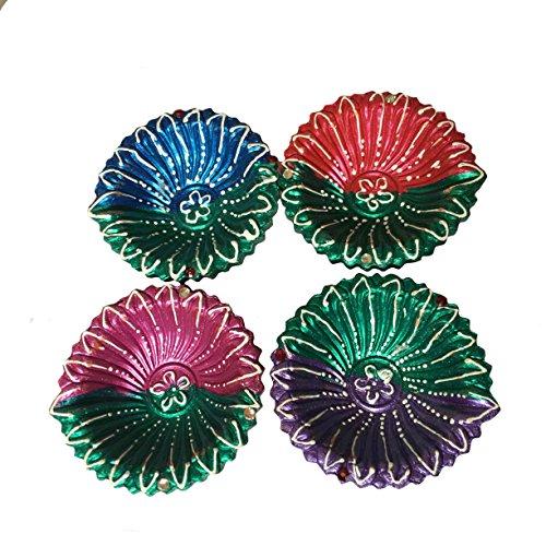 Pintado a mano de Diwali Diya Conjunto de 4, Colorido especialmente para Diwali festiva