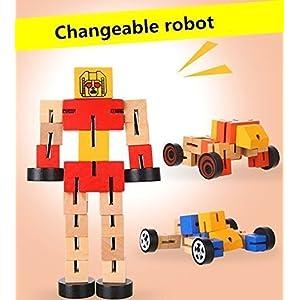 UChic 2 STÜCKE Holz Deformation Roboter Kinder Spielzeug Pädagogisches Spielzeug Spiel Holz Seltsame Form Verformbare Kinder Vielzahl Roboter Spielzeug Farbe Zufällig