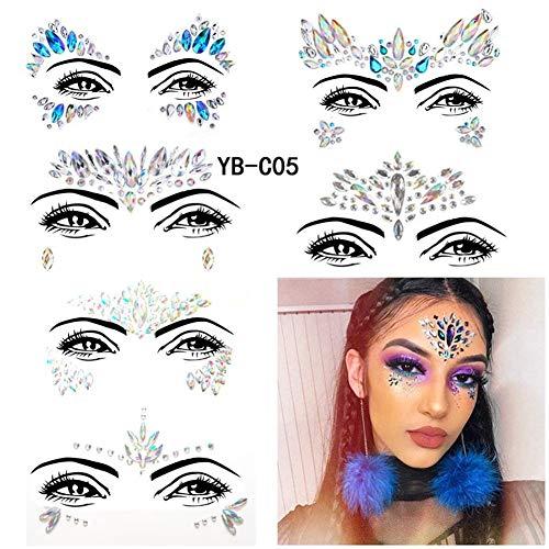 Cosy-TT 6 Sets Mermaid Glitter Temporäre Tattoos, Rave Festival Kristalle Edelsteine   Strass Wiederverwendbare Augen Gesicht Körper Aufkleber - Körper Kristalle