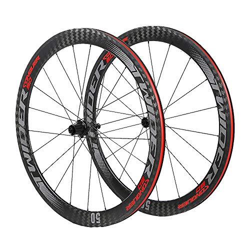 LIDAUTO Rennrad 700C Radsatz 4 Lager Freilauf Carbon Fiber Hub 50MM Felgen Reflektierendes Logo - Fahrrad Carbon-felgen