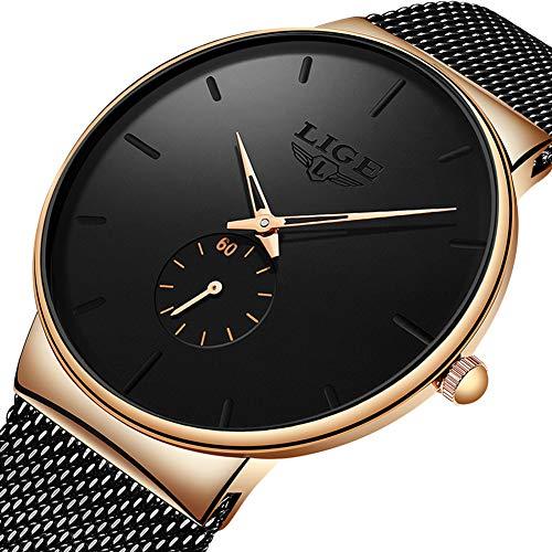 LIGE Herren Uhren Mode Wasserdicht Edelstahl Schwarz Armbanduhren für Männer Kleid Analog Quarz Uhren für Männer 9953A ... - Zum Verkauf Uhren Männer