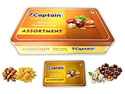 7Captain Chocolate covered Almonds Crunchy Almonds, Cashews, Pistachio & Raisins Drenched in Rich Chocolate (ASSORTMENT)