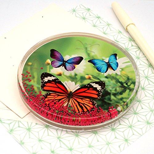 canplow Kristall-Look 4-Zoll Untersetzer, Briefbeschwerer, Make A Fun zu drehen, bunte Schmetterling, Blumen, Garten -