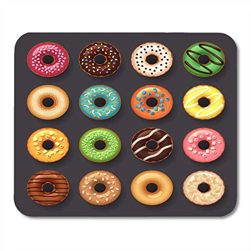 Deglogse Gaming-Mauspad-Matte, Cake Colorful Food Donut Dessert Chocolate Cartoon Sweet Culinary Dough Mouse Pad (Donut Cake Chocolate)