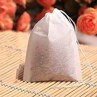 RoadRomao 100 unids/Set Bolsas de té vacías Cadena de té Sellado térmico Papel de Filtro Hierba Bolsas de té Sueltas
