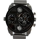 Oulm Analog Quarz Grau Schwarz Resin Band runden Zifferblatt-Mann-Uhr