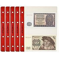PELLER'S 10 Feuilles pour Collection de pièces de Billets de Banque, 143mm X 80mm (pour classeur M). 2 Pochettes pour Billets de Banque sur Chaque Feuille