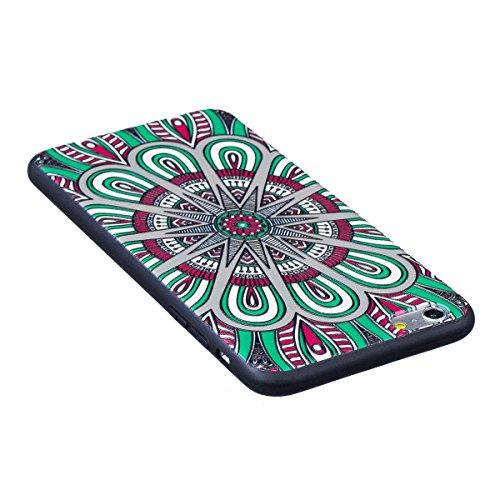 Cover iPhone 6 Plus, Custodia iPhone 6S Plus, Case in Silicone Nero Morbido TPU, Surakey Protettiva Bumper Back Cover Gomma Soft Sottile e Flessibile Custodia Gel Rubber Leggero Antiscivolo Antiurto P Mandala