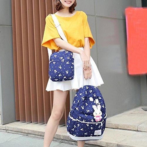 TPulling Frauen-Art- und Weisehandtaschen 4 Sätze der Kaninchen-Dame-Schulterbeutel-Schulterbeutel-Handtaschenmappe Blau