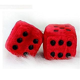 Designerbox Ein Paar Aufhängen Plüschwürfel Fuzzy Plüsch Würfel mit Punkten für Auto innen Ornament Dekoration 7,5CM (Rot)
