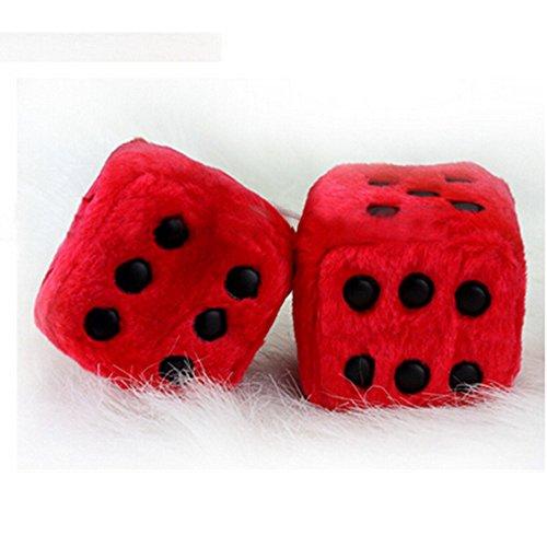 Preisvergleich Produktbild Designerbox Ein Paar Aufhängen Plüschwürfel Fuzzy Plüsch Würfel mit Punkten für Auto innen Ornament Dekoration 7,5CM (Rot)