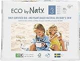 Eco by Naty Premium Bio-Windeln für empfindliche Haut, Größe 3, 4-9 kg, 6 Packungen à 30 Stück (180 Stück gesamt), weiß