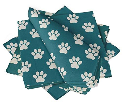 S4Sassy Blau Pfote Hund Partys Tischdekoration Bettwäsche Wiederverwendbare Tuch Servietten Set 20 x 20(Packung mit 4) -