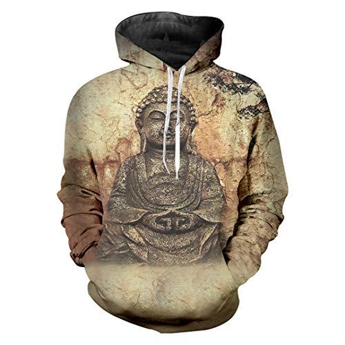 SWETHENG Men Fashion Print Buddha Statue 3D Hoodie Winter regelmäßige warme Kapuzen Sweats Langarm Pullover Buddha Statue Hoodie ()