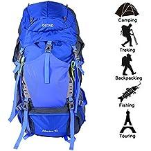 Impermeable Mochila de Senderismo OUTAD Trekking Bolsa de Mochilero con Gran Capacidad para Actividades al Aire Libre (65L-Azul)