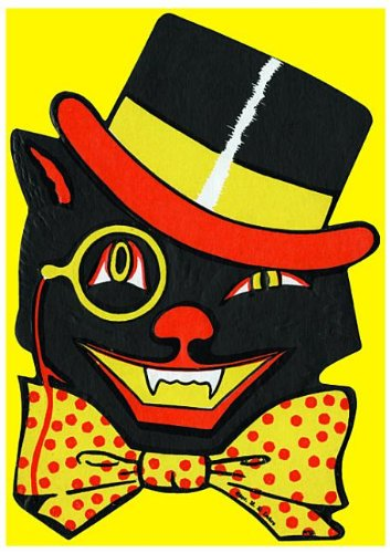 Winking Black Cat With Bow-Tie and Top-Hat - Halloween Greeting Cards: 6 Cards Individually Bagged With Envelopes & Header
