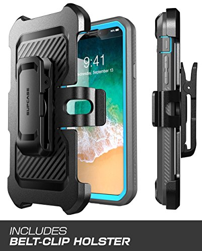 iPhone X Hülle, Supcase [Unicorn Bettle PRO] Schutzhülle Ganzkörper Case Robust Handyhülle Dual Layer Schale mit eingebautem Displayschutz und Gürtelclip für Apple iPhone X / iPhone 10 2017, Schwarz Blau
