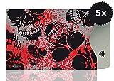 OPTEXX 5x RFID Schutzhülle TÜV geprüft & zertifiziert Roter Totenkopf/Red Skull für Kreditkarte  EC-Karte  Personal-Ausweis Hülle sicheres Blocking von Funk Chips