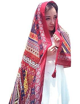 Chal de Gasa - BienBien Bufandas Tartan Mujer Pañuelo Etnico Estampado Vestido Sarong Pareo Traje de Baño de Verano...
