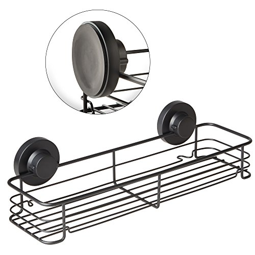 G-Loc Wide Shower Shelf Caddy Storage Basket Shampoo Conditioner Holder w Vacuum Suction Cups No Hooks No Drilling - Stainless Steel