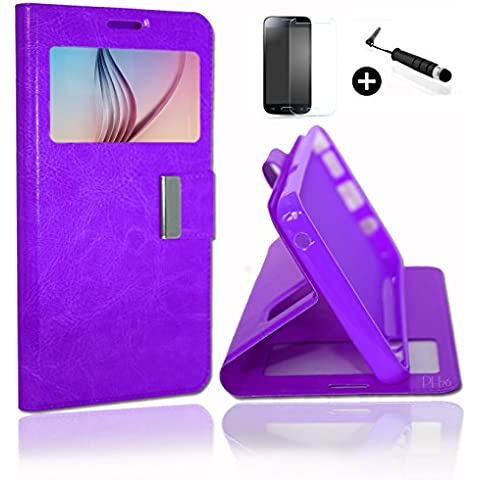 Wiko Jimmy Super Pack Premuim Custodia finestre Custodia Cover Foglio PU viola + Mini PENNINO Screen Touch + vetro temperato durezza 9H, ultrasottile 0.20 mm Antigraffio anti-impronte haute-réponse alta trasparenza by PH26 ®