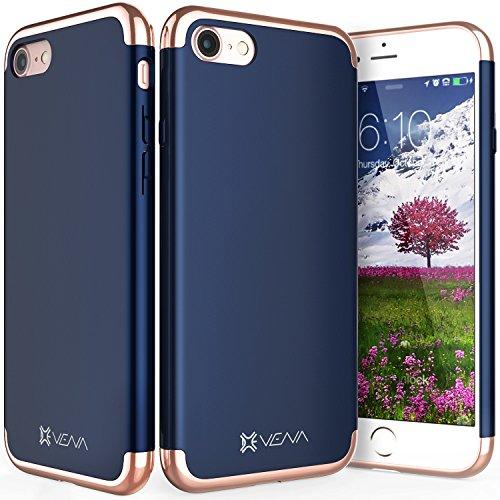 """iPhone 8 / 7 Hülle, Vena [Mirage][Chrom] Dock-Freundlich Slim-Fit Schutz Hart Case Cover für Apple iPhone 8 / 7 (4,7"""") - Blau / Rosengold Navy blau / Rosengold"""