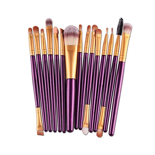 Liutao Pinselsets 15 Make-up Pinsel Set Beauty Tools Lidschattenpinsel Rougepinsel Beauty Brush Tragbares Geschenk Beauty Brush Make-up Brush Weich Pinselsets (Color : Purple Gold) Ovale Torte