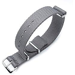 MiLTAT 20mm G10 Military NATO Watch Strap, Waffle Nylon Armband, Polished, Military Grey