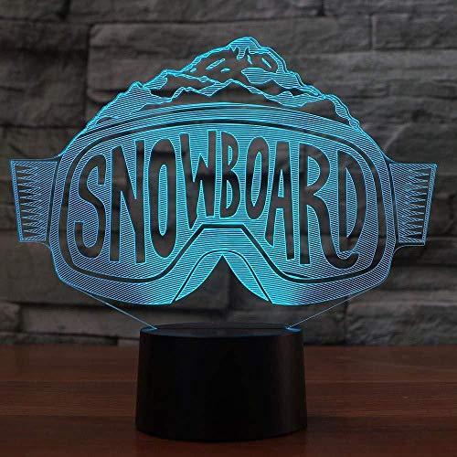 3D führte die Skibrille, die Nightlights-bunte Steigung-Tischlampe-Schlafzimmer-Nachttisch-Dekor-Snowboard-Schlaf-Beleuchtungs-Weihnachtsgeschenke modelliert (LWEEHNF)
