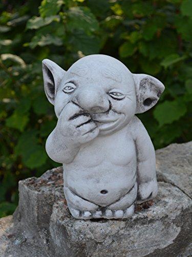 Massive-stone-troll-Figurine-Drill-Gnome-Elf-Pixie-Cast-Stone-Frost-Resistant