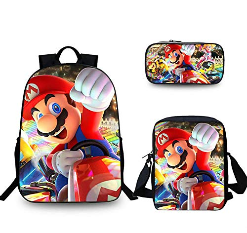 GHDE& SB Rucksack Set 3 Stück Super Mario Schultasche mit Schultertasche Mäppchen zum Teenager Jungs Mädchen,3