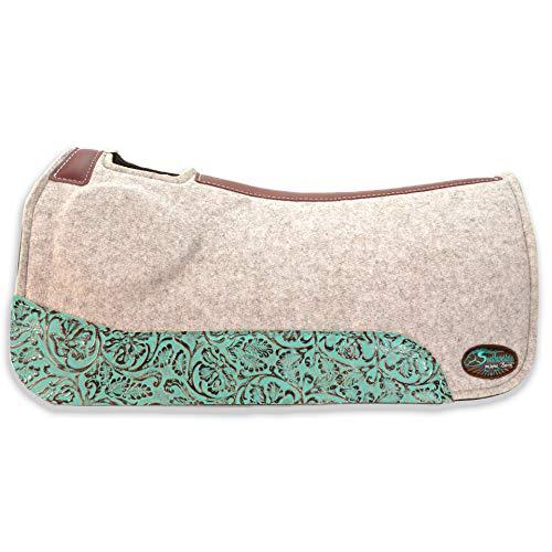 Southwestern Equine OrthoRide Elite Premium Tan Topper und Schokoladenwolle, 2,5 cm Schabracke, Turquoise Bloom, 32 x 31 -