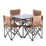 Klapptisch 4 Stuhl Set, Für Picknick Im Freien Camping Garten Küche Restaurants,Brown2