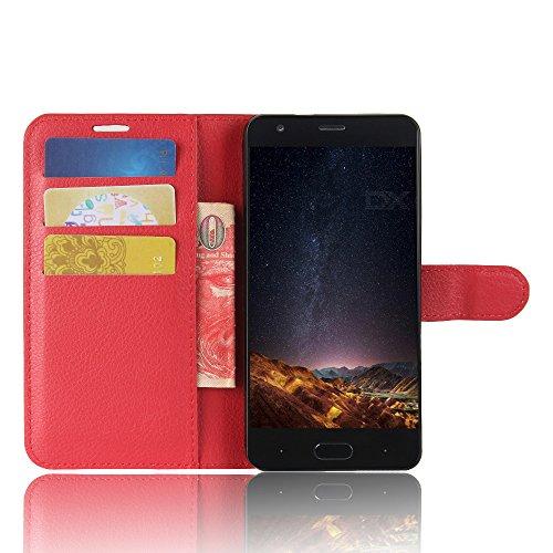 SMTR Doogee X20 / Doogee X20L Wallet Tasche Hülle - Ledertasche im Bookstyle in Rot - [Ultra Slim][Card Slot][Handyhülle] Flip Wallet Case Etui für Doogee X20 / Doogee X20L