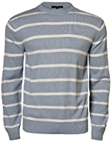 Mens Striped Jumper Crew Neck Casual Sweater Knitwear Top Blue Fire 26A-906, Ice Blue, Large