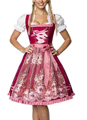 Madeleine Kostüm - Dirndl Kleid Kostüm mit Schürze Minidirndl mit Stickereien Pailletten und ausgestelltem Rockteil Oktoberfest Dirndl rosa/rot L