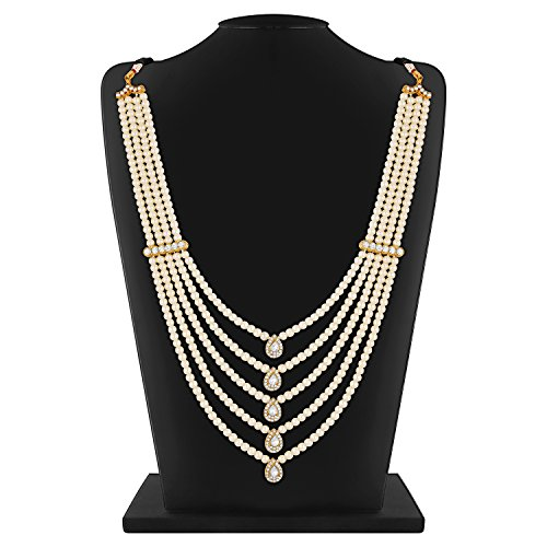 Rich Lady Marvellous Design Gold Finish 5 Line Stone and Pearl Dulha Mala for Men