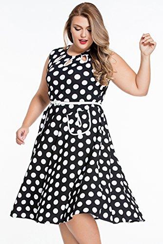 Damen 50er Retro Vintage Rockabilly Swing Kleider Dot Partykleider ...