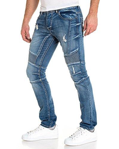 Gov Denim - Jeans fashion bleu délavé biker pour homme Bleu