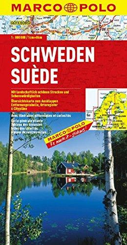Suède - Carte routière et touristique - Avec plans de centres-villes : Göteborg (Gothembourg), København (Copenhague), Malmö, Oslo, Stockholm et Trondheim - Echelle : 1/800 000