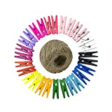 Bakicey Bunte Wäscheklammern, 100 pcs Holzklammern Bunte Wäscheklammern mit 100M Jute Kordel Photo Clips Mini Dekorativer Klammer Holz Handwerks Foto Clip (Multicolor)