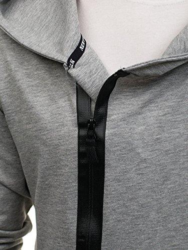 BOLF – Felpa – Con cappuccio – motivo mimetico – Chiusura asimetrica – Stile street – Da uomo 1A1 Grigio