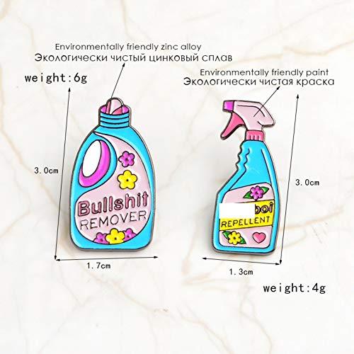 JTXZD Brosche 2 Teile/Satz Reinigungsmittel Entfernen Cartoon emaille pins Benutzerdefinierte Abzeichen Broschen Dekoriert für Frauen Mädchen Shirt Denim Jeans Kleidung -
