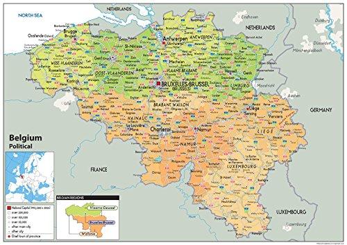 Belgien Politische Karte-Papier laminiert A2 Size 42 x 59.4 cm